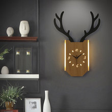 18W Wall Clock Lamp Bedroom Nordic Antlers Modern Living Room  Bedside Clock Wall Light Indoor Lighting Industrial Decoration
