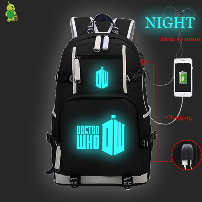 Doctor Who TV Series Backpack Women Men USB Charge Laptop Backpack Large School Bags for Teenage Girls Boys Luminous Travel Bags