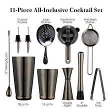 Cocktail Shaker Bar Set: 2 Weighted Boston Shakers,Cocktail Strainer Set,Jigger,Muddler and Spoon, Ice Tong and 2 Bottle Pourer