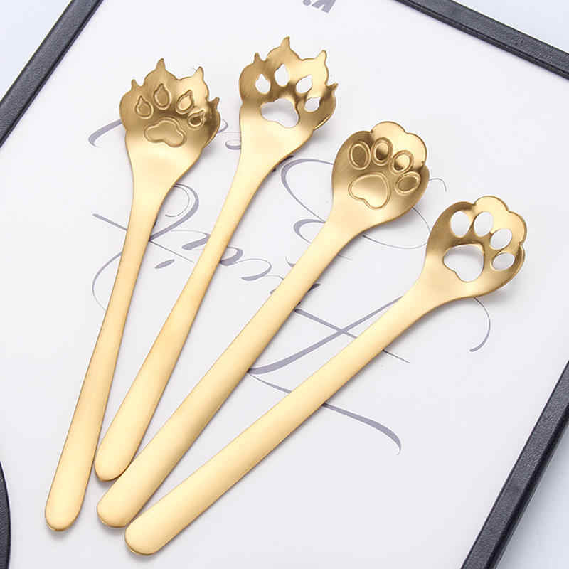 Vacclo creativo 304 cuchara de café de acero inoxidable que agita la cuchara de té cuchara gato garra perro taza hueco accesorios de cocina
