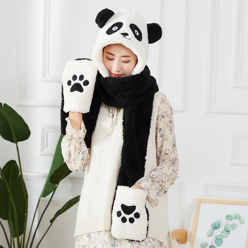Cute Panda Hat Scarf Gloves Set Cool Winter Hat Cartoon Animal Hat Embroidery Panda Plush Hat