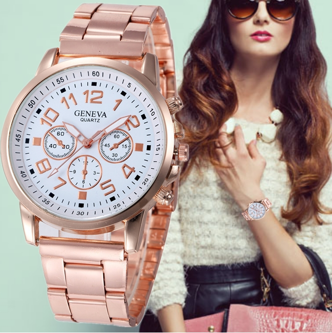 GENEVA Fashion Women Watches Watch Women Quartz Reloj Mujer Stainless Steel Ladies Clock Rose Gold Watch Relogio Feminino
