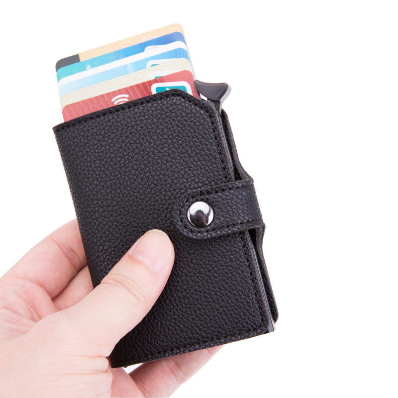 New Anti-theft Men Credit Card Holder PU Leather Unisex Wallet Rfid Id Card Holder For Women Aluminum Purse Men Bank Travel