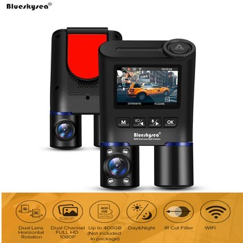 Original Blueskysea B2W Dual DVR Car Dash Cam HD 1080P WiFi Camera Front & Rear Views Supercapacitor Upgrated B1W Version DVRs
