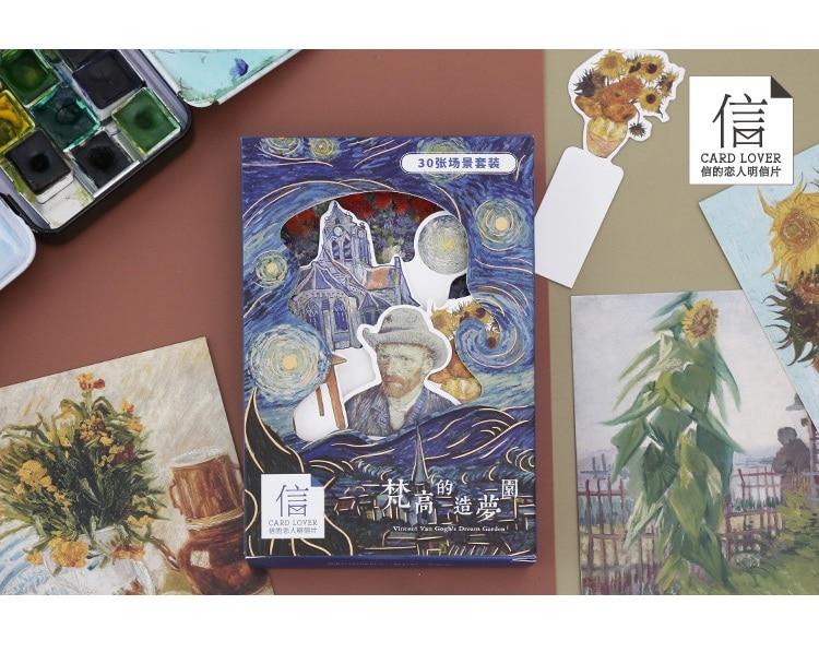 30 Sheets Van Gogh Dream Garden Postcard DIY Greeting Cards Bookmarks Journal Decoration