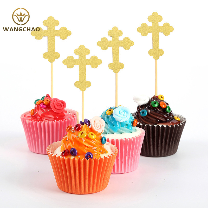 24Pcs/bag Cross Angel God Bless Cake Topper First Communion Baby Shower Christian Party Decoration Supplies Easter Cake Toppers