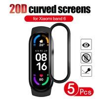 Mi banda 6 suave de vidrio película protectora para xiaomi mi banda 5 6 completa de la cubierta de la pantalla Protector para miband gota de 6 inteligente nfc pulsera