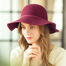 Fedoras Hat For Women Elegant Black Red Fascinator  Wool Knitted Fashion Church Wedding Cap Lady Tea Party Keep Warm Hats