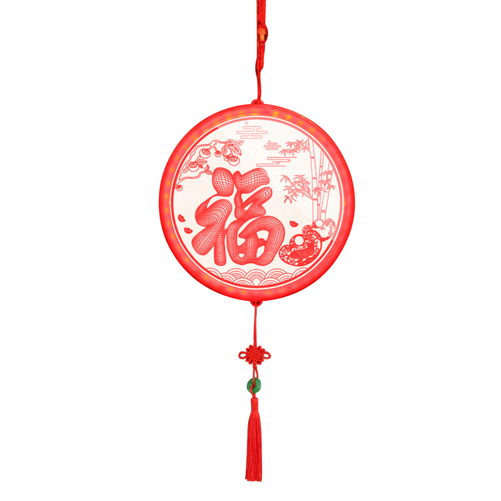 Decorative Lamp Spring Festival Knot New Year Round Led Light Home Ornament Fu Letter Chinese Style Joyous Holiday Office