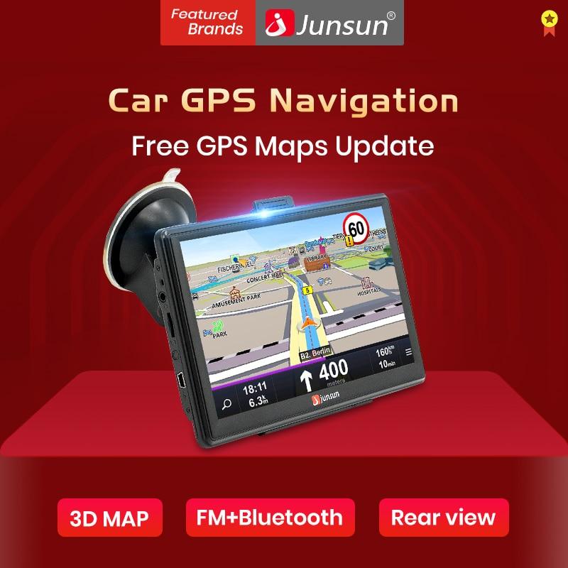 """Junsun 7 """"pojemnościowa nawigacja samochodowa GPS nawigator samochodowy FM Bluetooth europa/rosja darmowa mapa pojazd gps ciężarówka mapa Sat nav"""