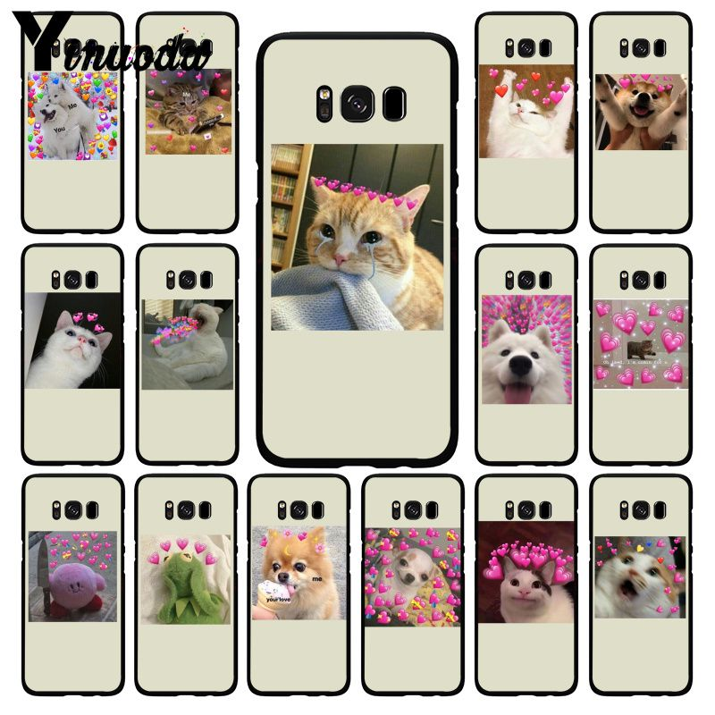 Yinuoda cute cat dog cartoon pink Heart-shaped YOU&ME Phone Case for Samsung Galaxy S10 Plus S10E S6 S7 S8 S9 S9Plus S10lite image