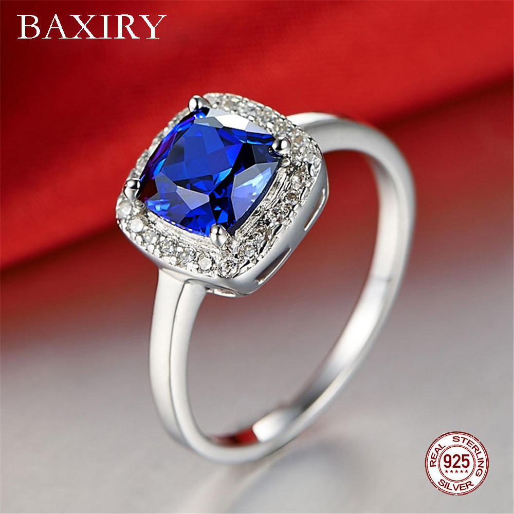 Luxury Trendy Ruby Ring Gemstones Natural For Jewelry Silver Ring Blue Topaz Ring 925 Sterling Silver Rings For Women Engagement