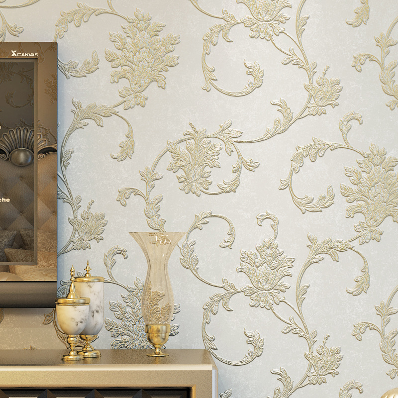 Luxury European Style 3D Carving Coining Non-woven Wallpaper Living Room Bedroom TV Backdrop Wall Wallpaper