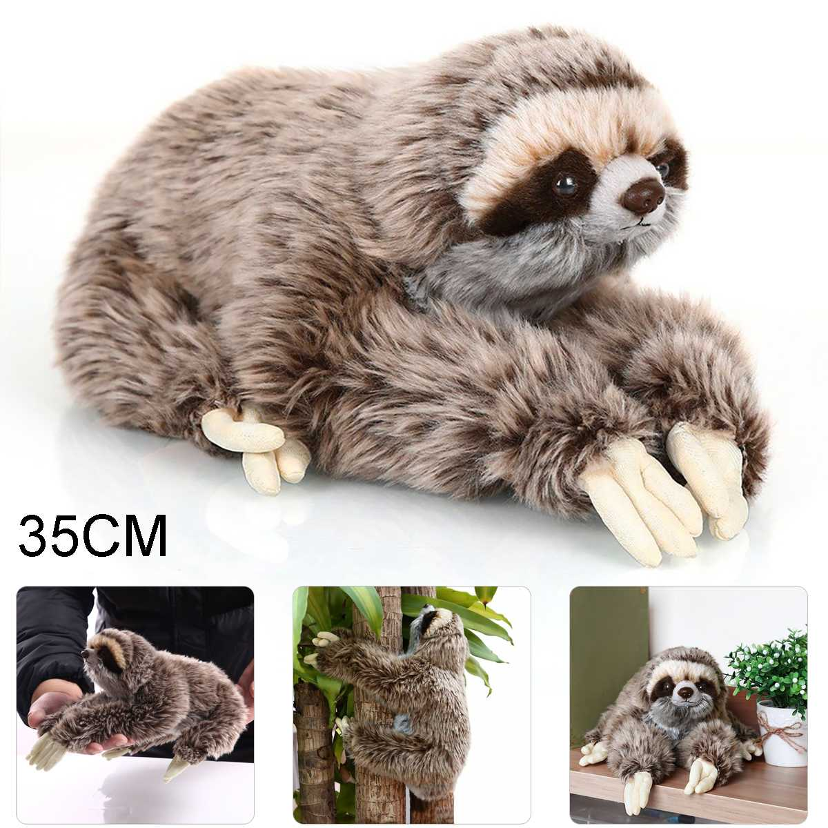 35cm Stuffed Toy Three Toed Cuddly Lying Animals Lifelike Cute Soft Plush Sloth Critters Children Gifts Doll Birthday