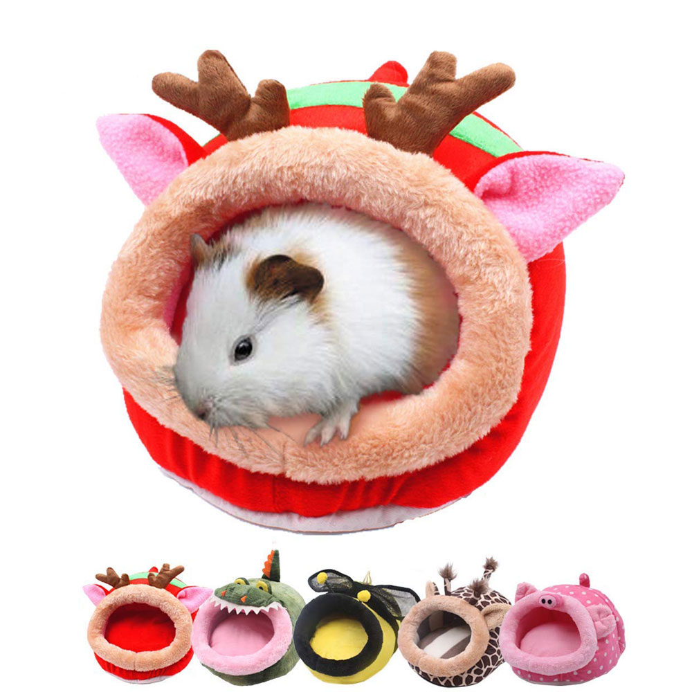 Mini Animals Hedgehog Warm House Bed Small Pet Sleeping House Hamster Puppy Kitten Home Bed Soft Guinea Pig Nest Bed Christmas
