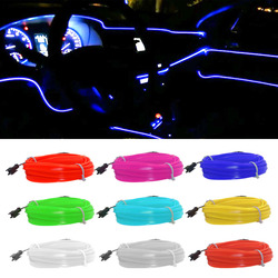 1M/3M/5M Flexible Car Interior Lighting LED Strip Garland Wire Rope Tube Line Neon Light With Cigarette Drive controller
