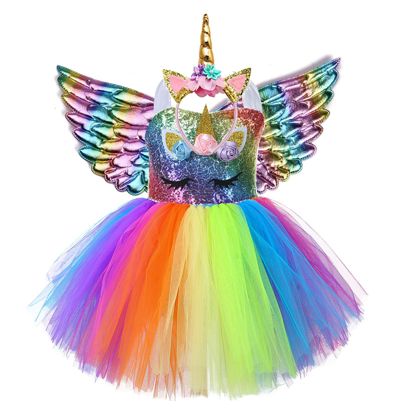 Kids Clothes Girls Summer Sequin Unicorn Dress Princess Dresses For Women Wedding Party Dress LED Children Clothing vestido 2021 2