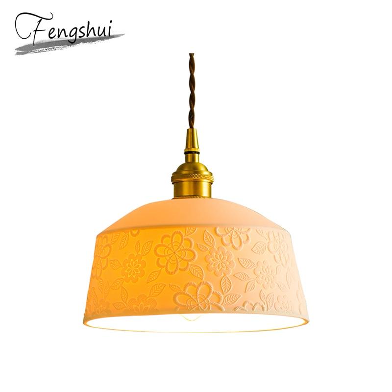 Nordic Copper Pendant Lights Lamp White Ceramic Hanging Lamp LED Pending Lighting Living Room Dining Room Bedroom Loft Decor