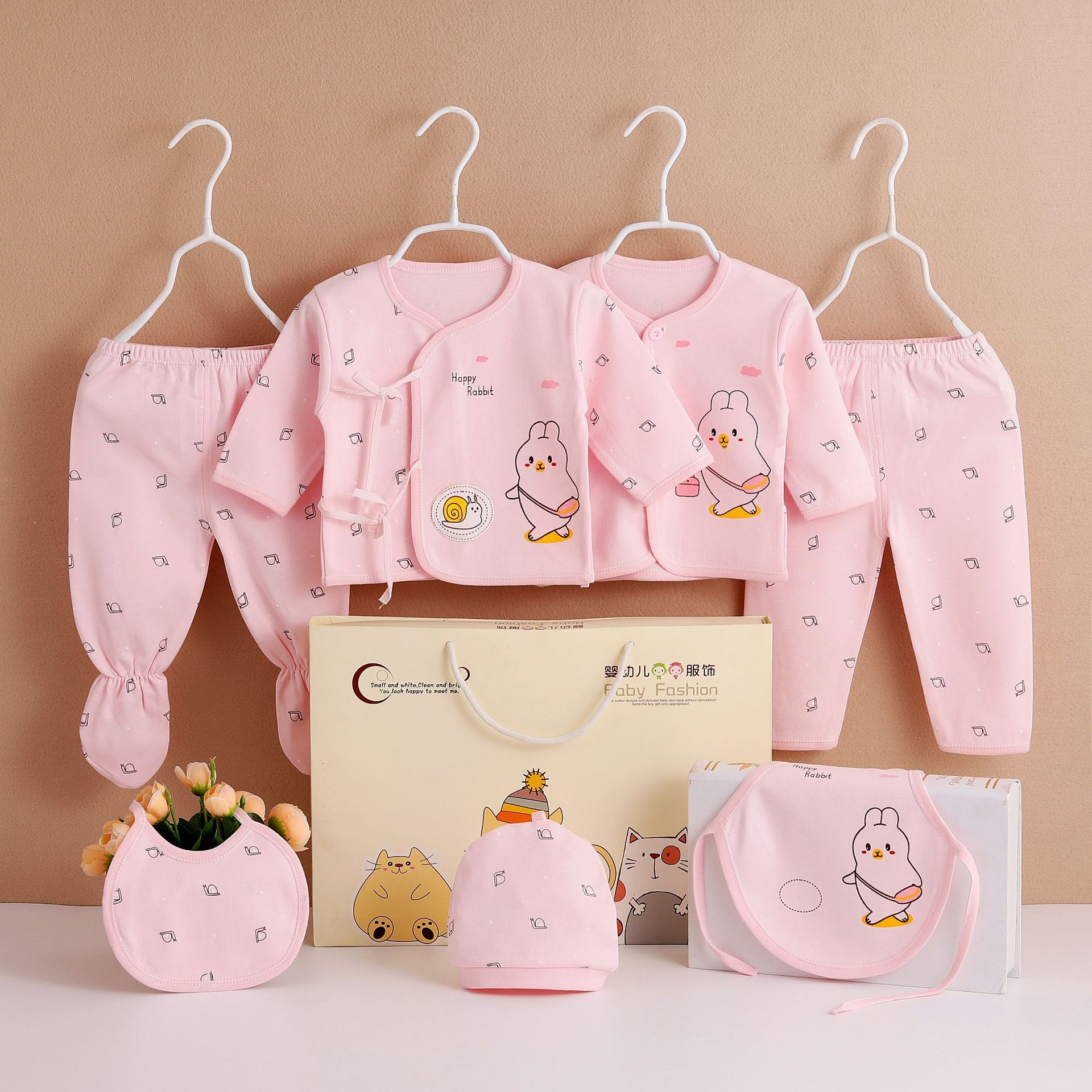 Infants 0-3 Month Cotton And Wool Baby Clothes Thin Cotton Seven Sets Of Dual File Gown Newborns Gift Box