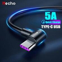 Cable de datos de carga rápida para móvil, Cable de carga USB tipo C 5A para Huawei, SamSung, A50, A70, Xiaomi Redmi 9, Note 7, 8, Cable de carga en ángulo recto
