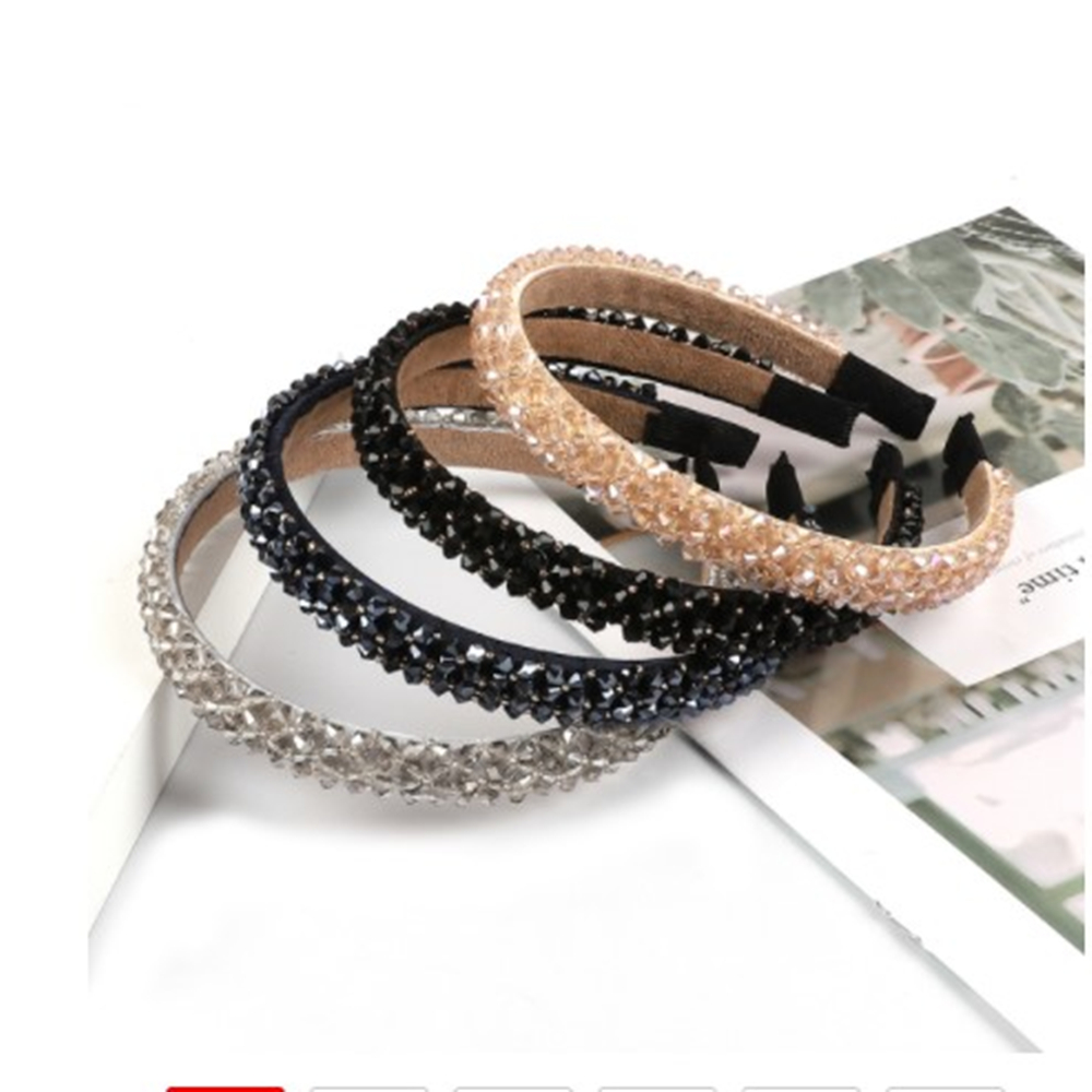 New Colorful Women Girl Shiny  Crystal Hair Bands Hoop Bezel Headband Flower Shining Rhinestone Headband