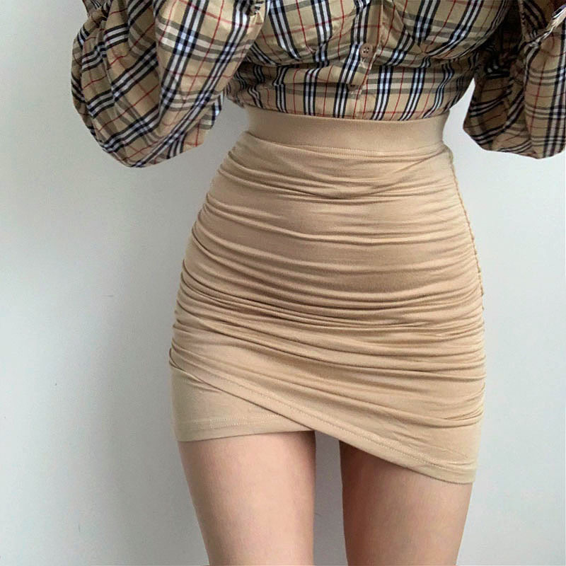 XIABNI High Waist Pleated Bandage Short Skirt Female Sexy Street Party Tight Elastic Mini Wrap Hip Skirt Irregular Apricot