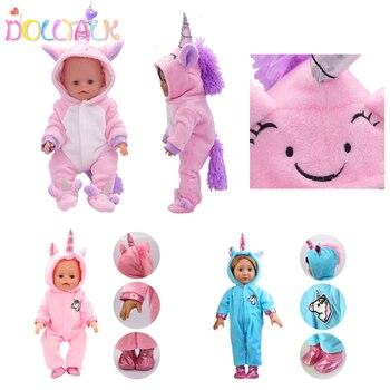 Bonito unicórnio boneca roupas macacão terno boneca roupa para 18 Polegada americano e 43cm novo bebê boneca nossa geração bonecas vestuário