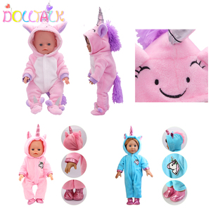 Cute Unicorn Doll Clothes Rompers Suit Doll Outfit For 18 Inch American and 43cm New Baby Doll Our Generation Dolls Garment(China)