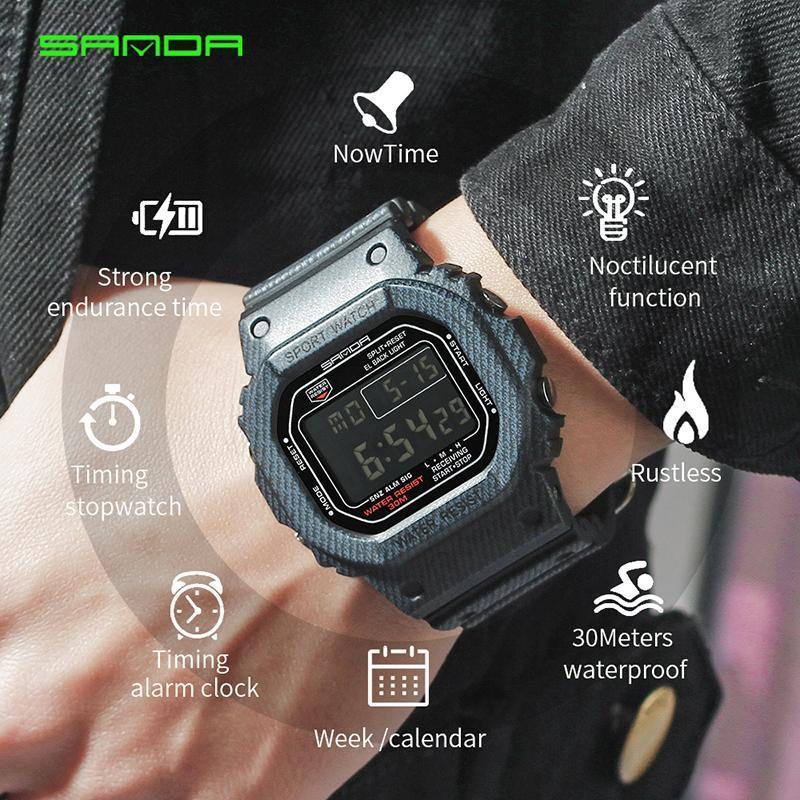 Silicone Digital Watch Men Alarm Clock Waterproof Date Military Watch LED Light Week Display Denim Sport Watch Relogio Masculino