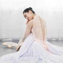 Body con bordado de encaje y cuello alto para mujer, Ropa de Ballet para adultos, leotardos para niña, Mallas de gimnasia