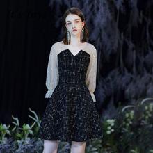 Женское коктейльное платье it's yiiya черное блестящее короткое