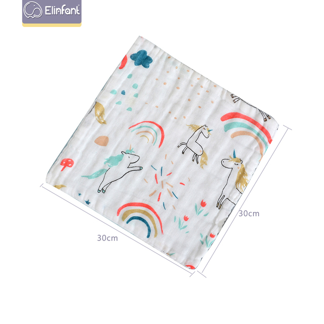 Elinfant 5 stücke Baby Gesicht-handtuch nette cartoon baumwolle super weiche baby handtuch kleinen platz wipes30 * 30cm musselin swaddle Handtuch