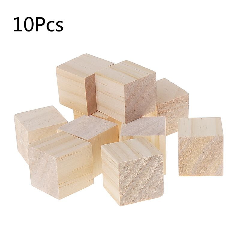 10mm Natural Wooden Blocks Cubes Arts Crafts Hobby Model Making Wood Working