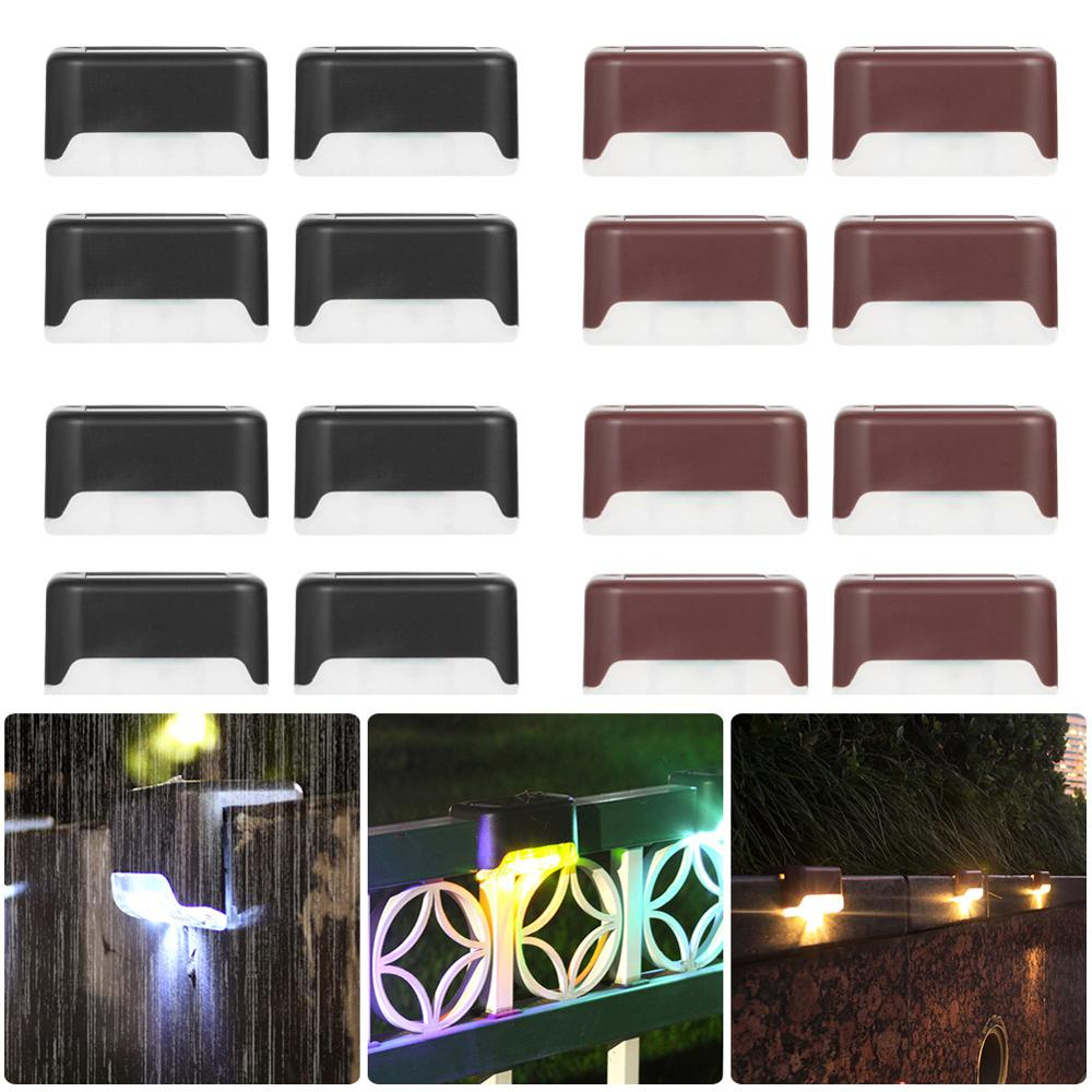 4pcs Solar Deck Lights Solar Step Lights Outdoor Waterproof Led Solar Fence Lamp For Patio Stairs Garden Pathway Step Yard