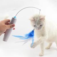 Brinquedo giratório elétrico do gato do brinquedo da plataforma giratória da pena do gatinho