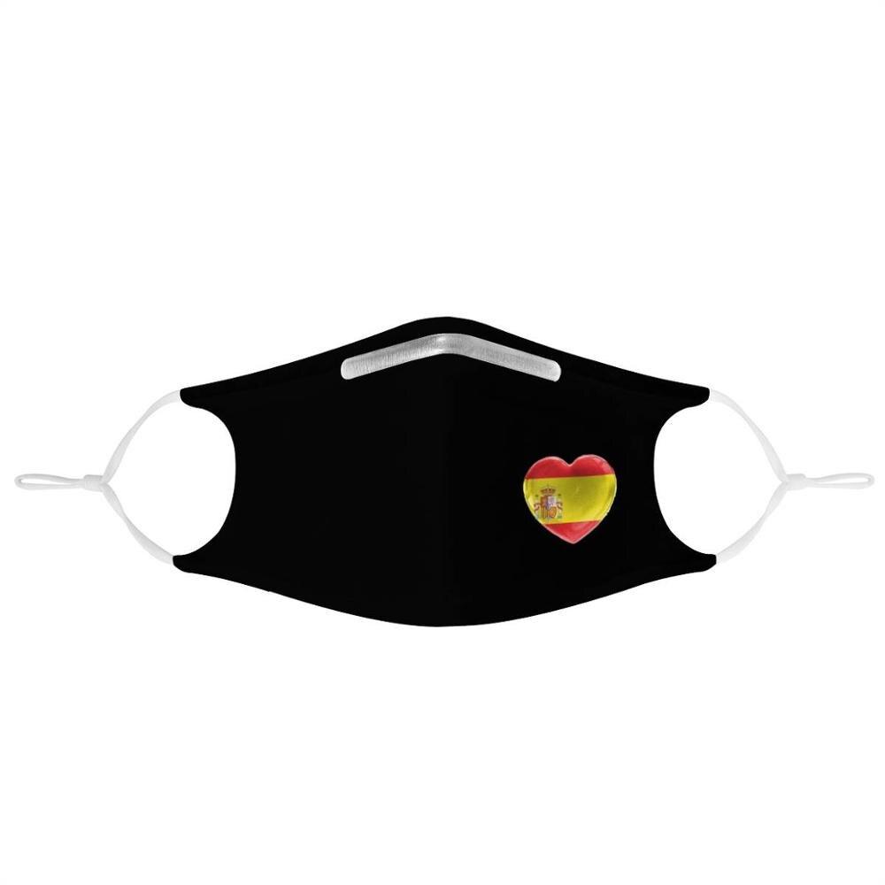 Spanish flag custom image 4Pcs Filter Masks Carbon Insert Anti-dust Anti-infection Reusable black face cover Spain Heart-shaped