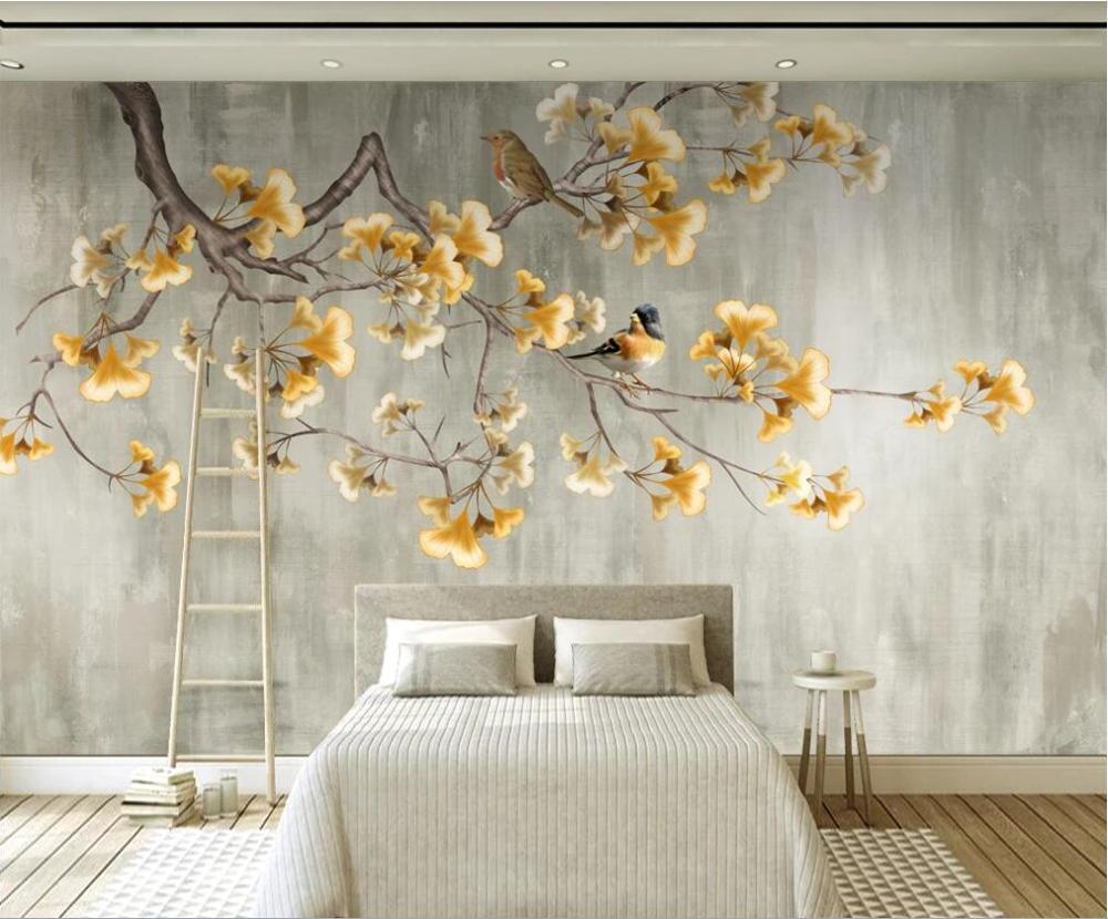 Customized Large Mural Wallpaper Wall Covering Chinese Rich Golden Ginkgo Tree TV Background Wall