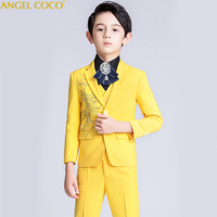 Crystal Flower Boys Evening Formal Blazer Clothing Set Kids Jacket Vest Pants 5Pcs Wedding Tuxedo Suit Children Birthday Costume
