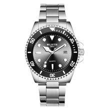 цена на Wlisth brand watch popular water ghost quartz watch fashion night light waterproof steel band men's Watch