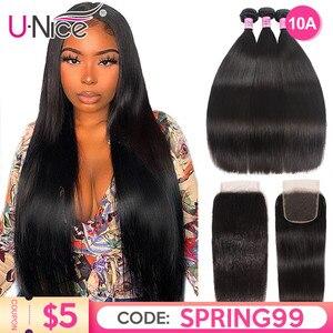 UNice Hair Peruvian Straight Hair 3 Bundles With Closure Lace Closure 4/5PCS Swiss Lace Human Hair Weave Remy Hair Diy Wig(China)