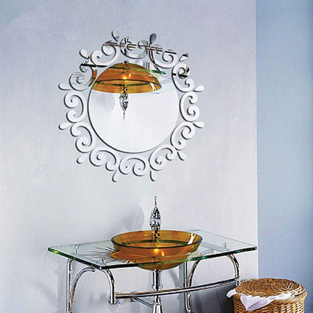 24 шт Акриловые 3D зеркальные настенные наклейки, настенные украшения для дома и ванной комнаты - Цвет: silver color