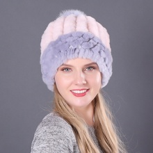 Winter Russian Natural Rex Rabbit Fur Hat Women Elasitc Warm Soft Handmade Knitted Real Caps Fox Pompoms Beanies Hats