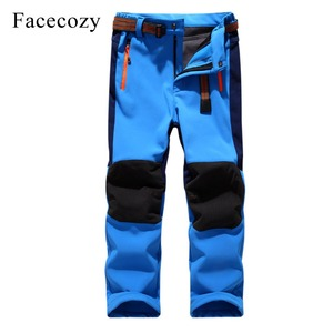 Image 1 - Facecozy Kids Winter Thicken Outdoor Sports Pants With Fleece Windproof Warm Softshell Trousers Children Adventure Camping Pants