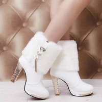 High Heels Snow Boots Women Leather Platform Plush Ladies Winter Shoes Warm Fur Ankle Boots for Women Botas Mujer 2019 Fashion
