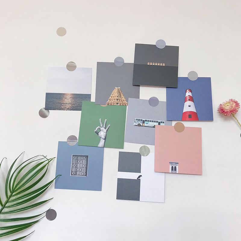 Ins 9 Sheets Industrial Style Personality Decoration Card Background Metope Card Student Creative Postcard Photograph Prop