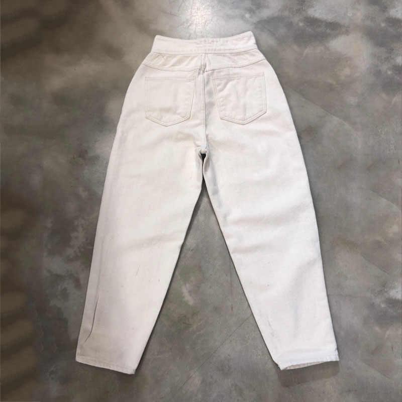 Frauen Harem Jeans Hosen Mode Hohe Taille Lose Weiß Denim Jeans Weiblichen Tasten Hosen Frühling 2020 Streetwear Pantalon 10391