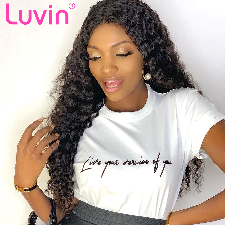 Luvin Deep Wave 360 Lace Frontal Wig Pre Plucked With Baby Hair Curly 13x6 Lace Front