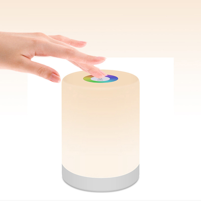 LED Night Light RGB Color Change Night Lamp Moon Portable Touch Sensor Night Light Child Bedroom Rechargeable Bedside Light