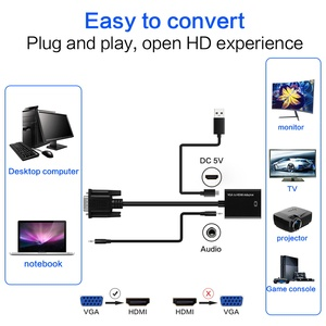 Image 5 - FSU taşınabilir tak ve çalıştır VGA HDMI çıkışı 1080P HD ses TV AV HDTV PC Video kablosu VGA2HDMI dönüştürücü adaptör