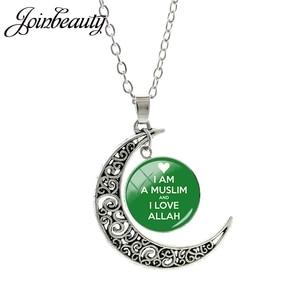 Image 3 - JOINBEAUTY islamskie muzułmanie Allah wzór księżyc naszyjnik moda kobiety akcesoria dla mężczyzn prosty wisiorek ręcznie robiona biżuteria NT355